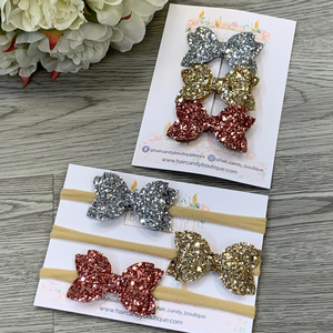 Glitter Mini bow Sets