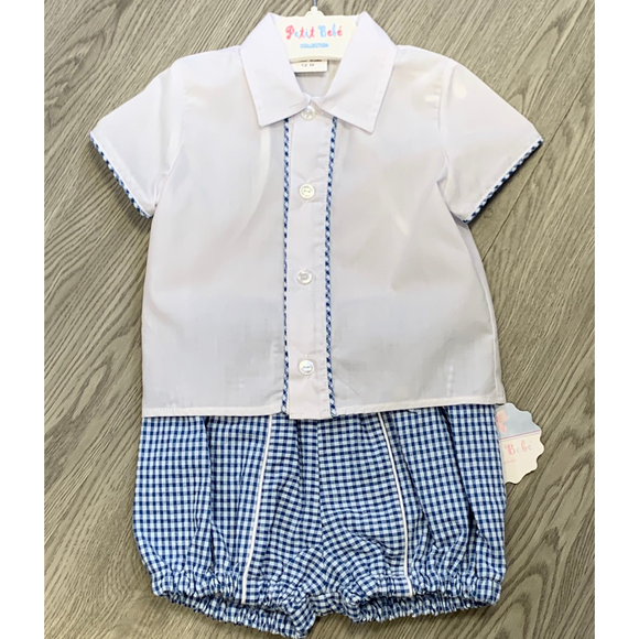 Petit Bebe Boys Blue Gingham Two Piece Set