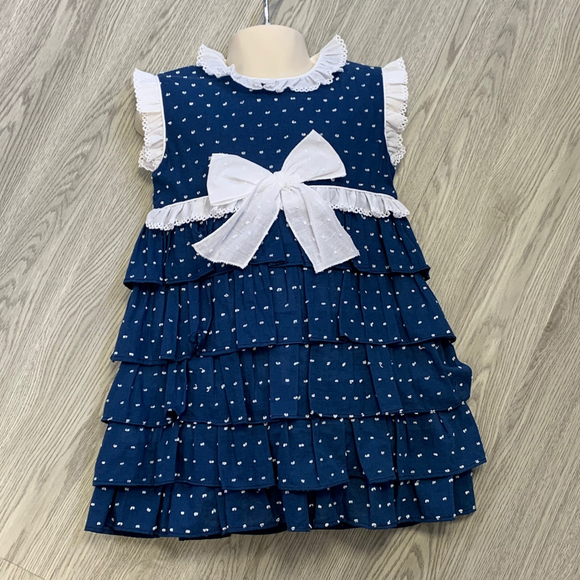 Petit Bebe Girls Navy Ruffle Dress