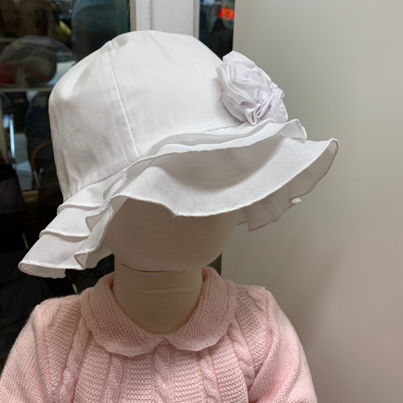 Sarah Louise Flower Sun Hat - White