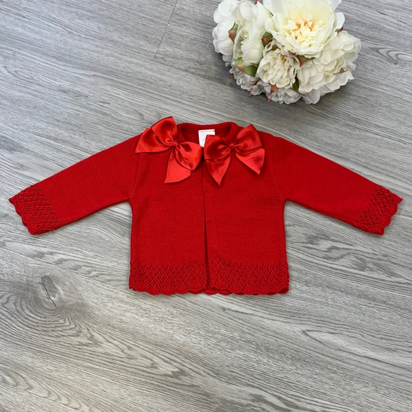 Girls Double Bow Red Cardigan