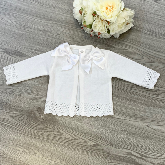 Girls Double Bow White Cardigan