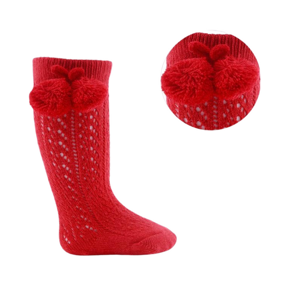 Pelerine Red Knee High Pom Pom Socks