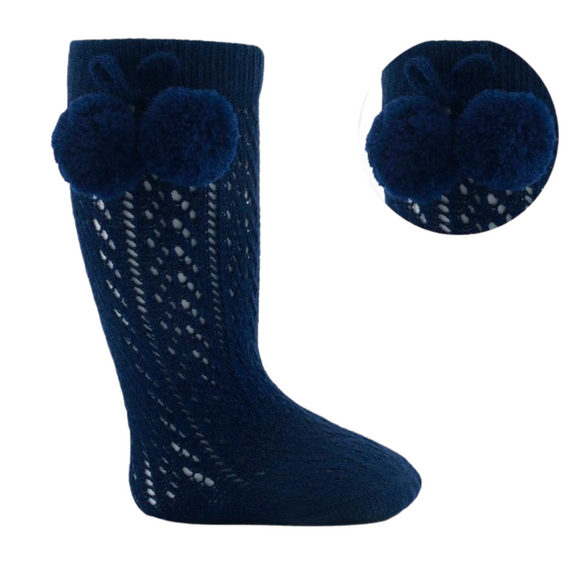 Pelerine Navy Knee High Pom Pom Socks