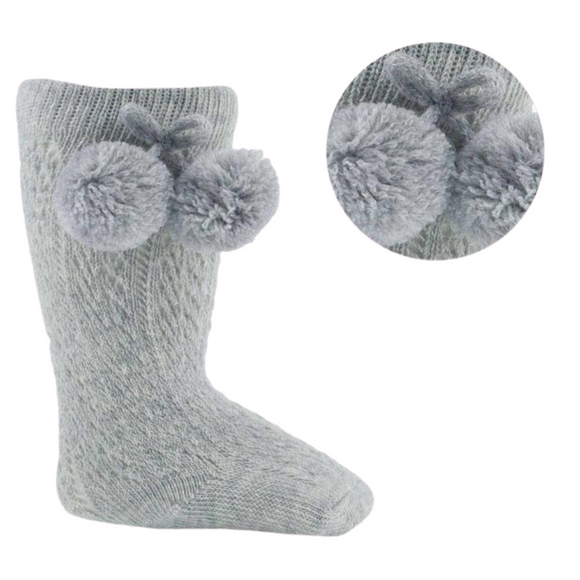 Pelerine Grey Knee High Pom Pom Socks