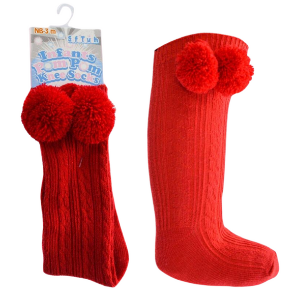 Knee High Red Pom Pom Socks
