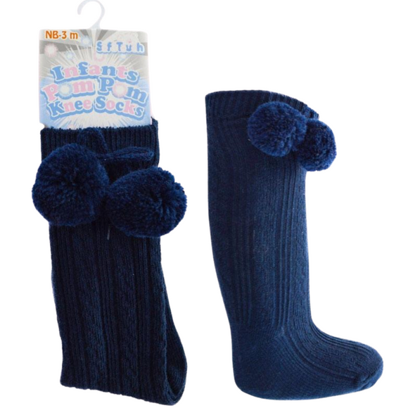 Knee High Navy Pom Pom Socks