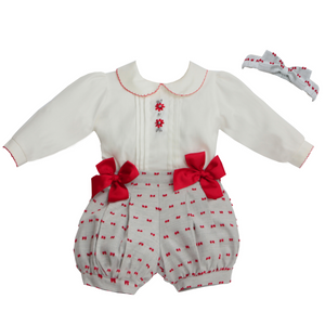 Pretty Originals Girls Red/Grey Two Piece Set with Headband