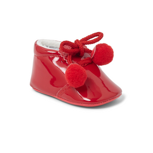 Joe Red Pom Pom Soft Sole Pram Shoes