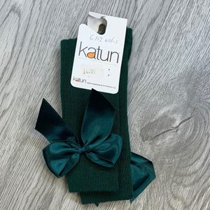 Katun Girls Bottle Green Ribbed Knee Sock with Bow
