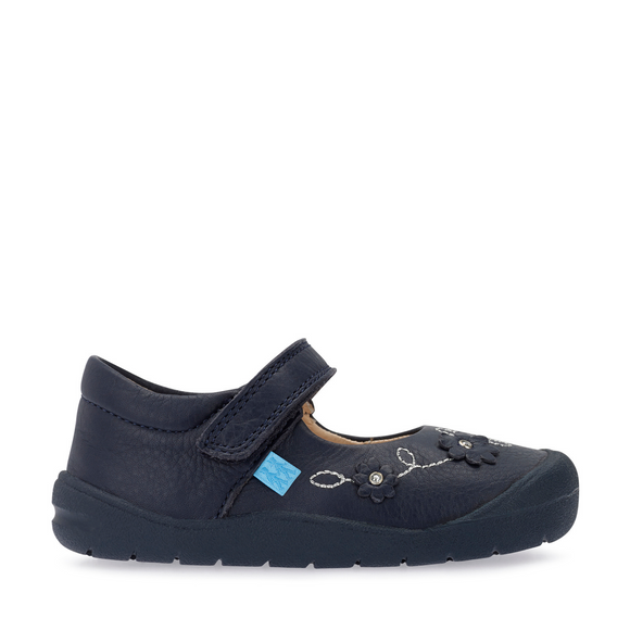 Start Rite Flex Navy Leather Riptape Girls First Walking Shoe