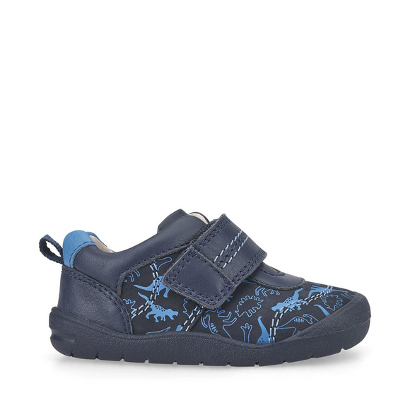 Start Rite, Footprint Navy Dino Print Riptape Boys First Walking Shoe