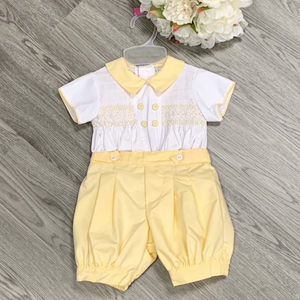 Pretty Originals Boys Lemon/White Smock Short Set