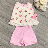 Pretty Originals Girls Cream/Pink Floral Short Set