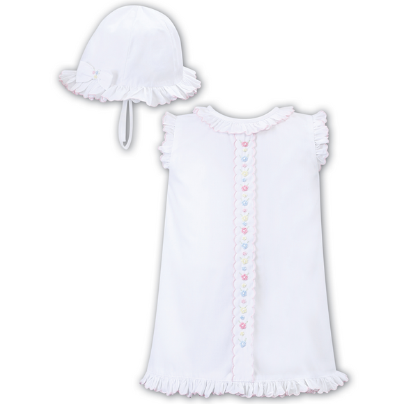 Sarah Louise Girls White/Pink Sundress & Hat Set