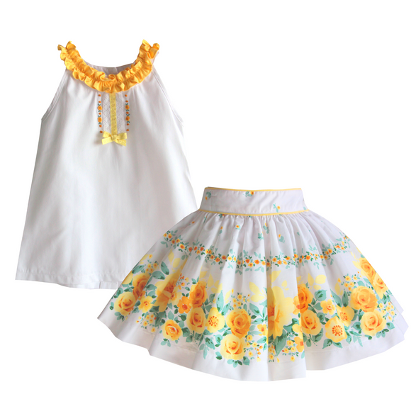 Pretty Originals Girls Lemon Floral Skirt Set