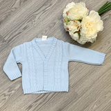 Blue Cable Knit Button Cardigan