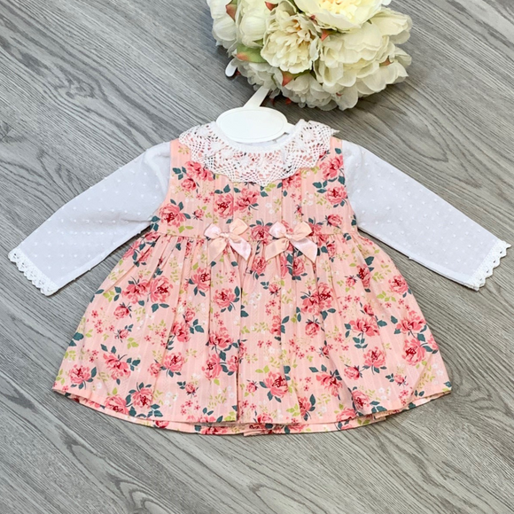 Girls Pink Floral Bow Dress Set