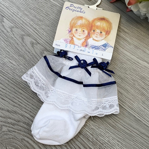 Pretty Originals Lace Ankle Socks Navy Flower/Ribbon