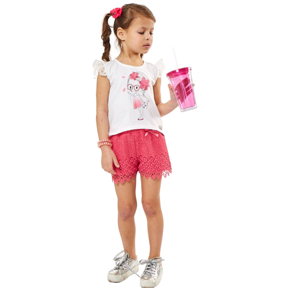 Girls Pink Lace Summer Short Set