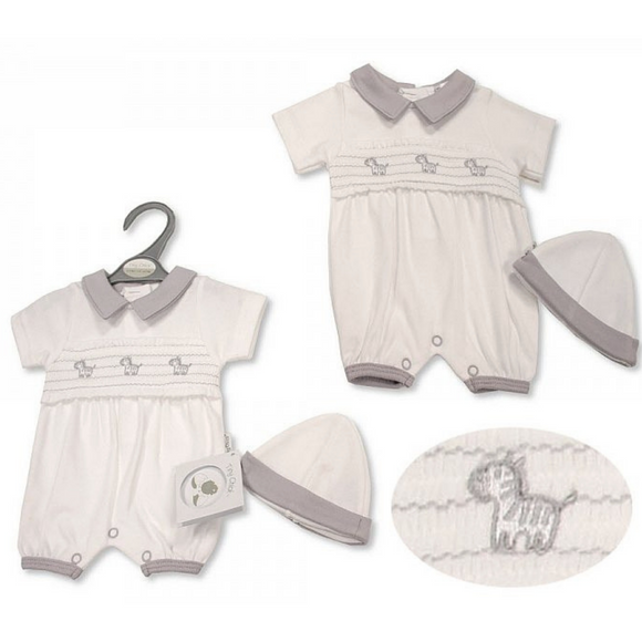Premature Smocked Zebra Romper & Hat