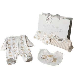 Unisex 'Playroom' Five Piece Teddy Layette Set With Gift Bag