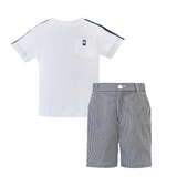 Dani by Sarah Louise Boys Navy/White Top & Short Set