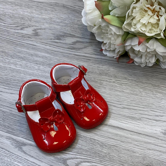 Pretty Originals Red Bow Patent Pram Shoe