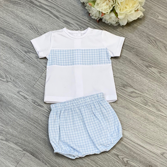 Rapife boys Two Piece Blue/White Check Jam Pant Set