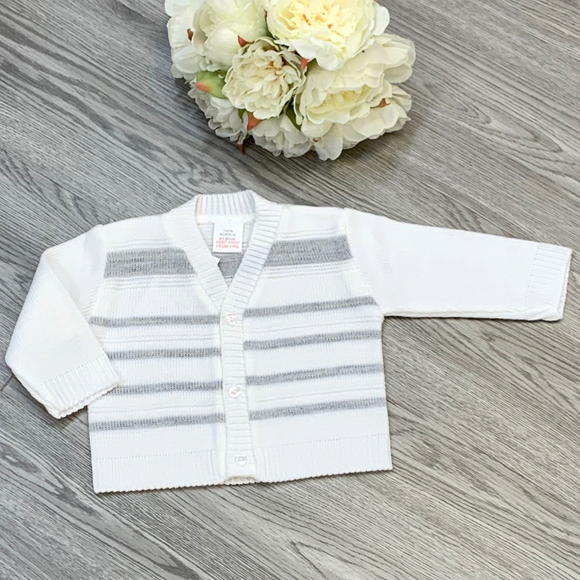 Boys White/Grey Cardigan
