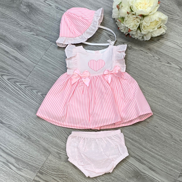 Girls Three Piece Pink Stripe Heart Dress with Bonnet and Knickers