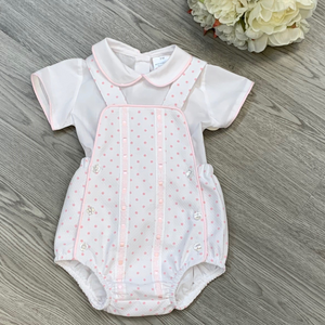 Pink Spot Romper Two Piece Set