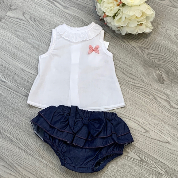 Girls Two Piece Navy Ruffle Jam Pant Set