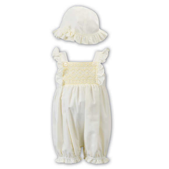 Sarah Louise Lemon Bubble Smock Romper & Sun Hat