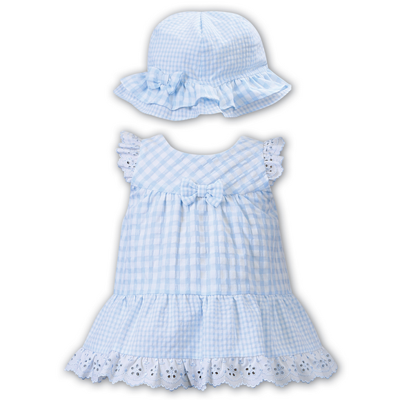 Dani by Sarah Louise Blue Gingham Summer Dress & Hat Set