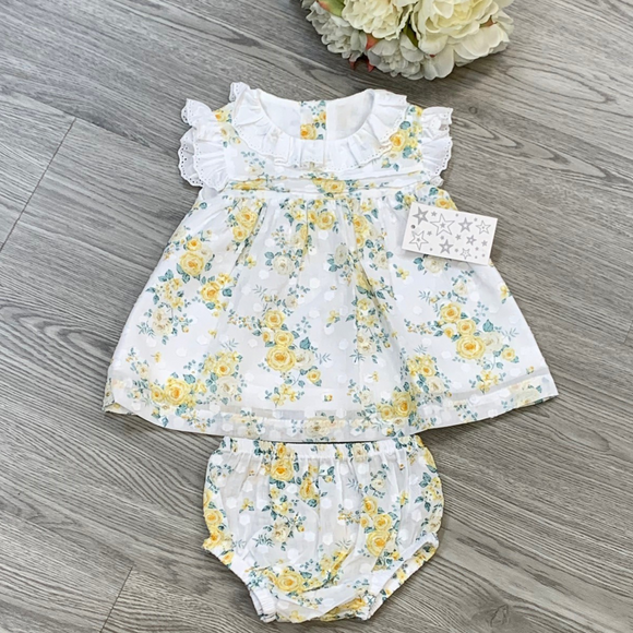 Girls Lemon Floral Dress & Knicker Set