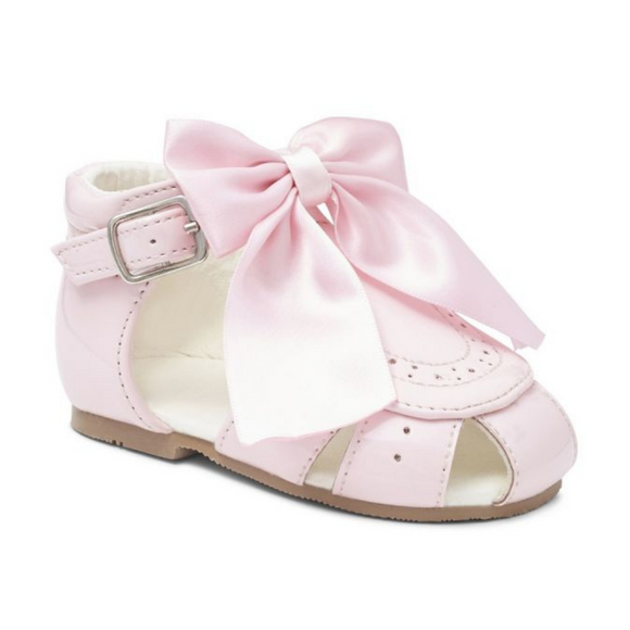 Girls Pink Ribbon Patent Sandals
