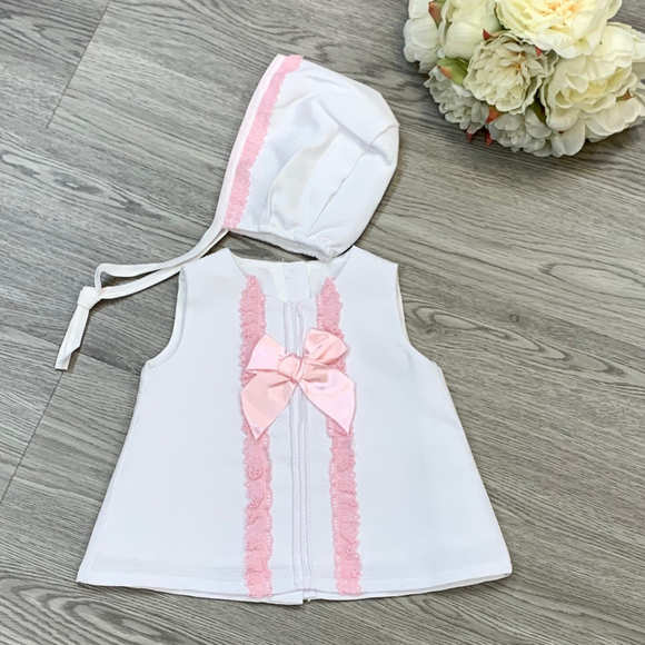 Girls White/Pink Summer Dress & Bonnet