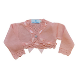 Girls Pink Ribbon Bolero Cardigan