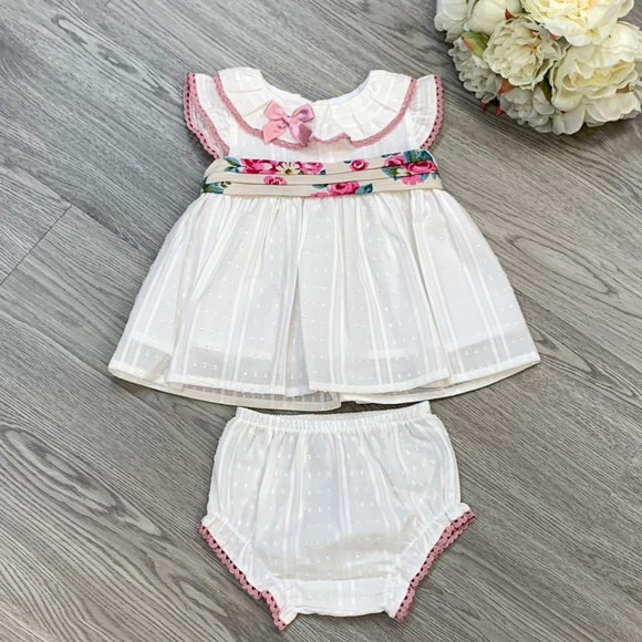 Girls Ivory Dress & Knicker Set with Floral Sash Detail