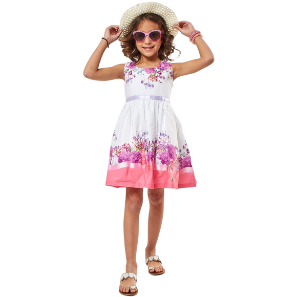 Girls Summer Dress with Lilac Ribbon & Sun Hat