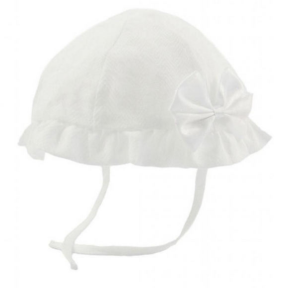 Girls White Bow Sun Hat