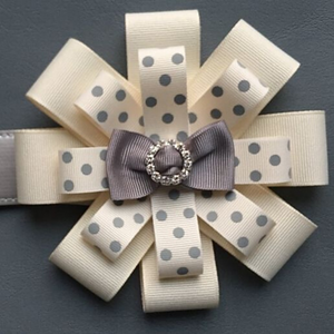 Rosette - Cream Polka Dot