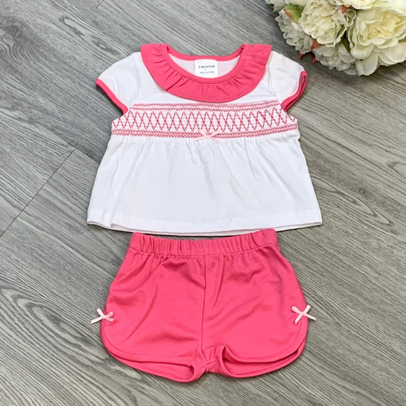 Girls Fuchsia Pink Smock Short Set