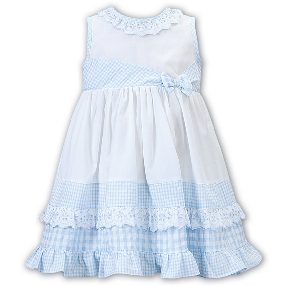 Dani by Sarah Louise Girls White/Blue Gingham Bow  Dress