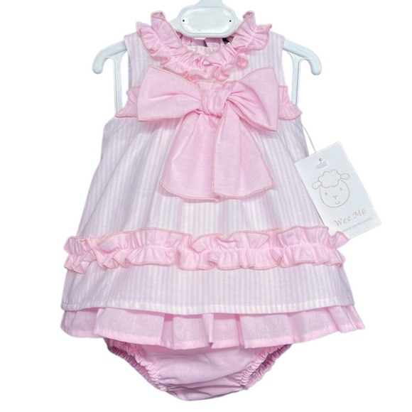 Wee Me Pink Bow Dress & Knicker Set