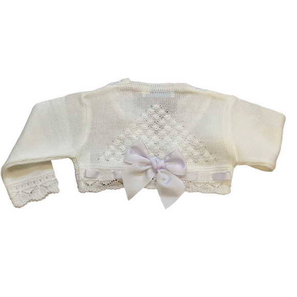 Girls White Ribbon Bolero Cardigan