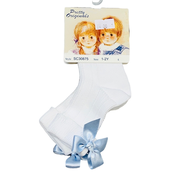 Pretty Originals Blue Bow Ankle Sock