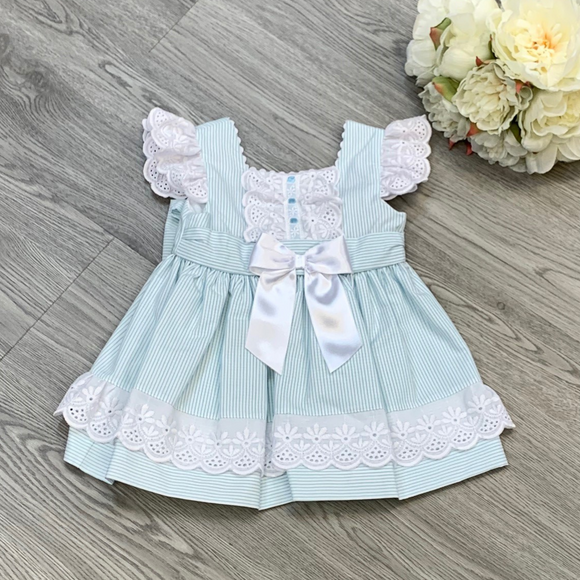 Girls Mint Candy Stripe Dress With Back Bow