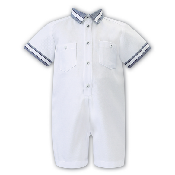 Dani by Sarah Louise Boys White/Navy Romper with pocket detail.